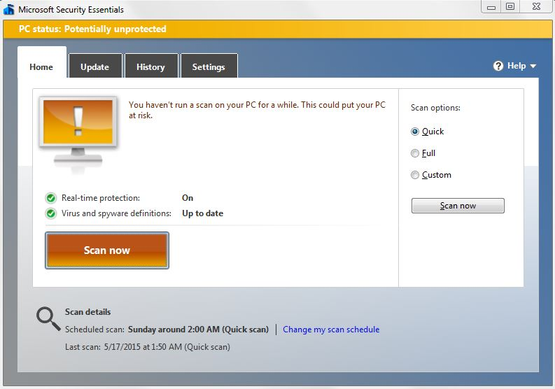 Microsoft Security Essentials on Home PC
