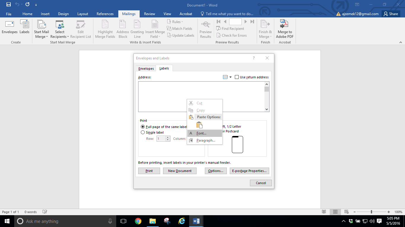 how to make address labels in word