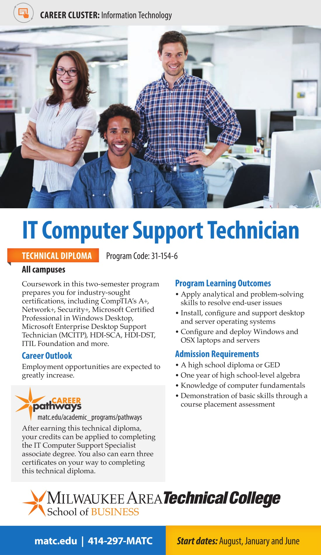 2017 2018 Matc It Computer Support Program Cards Matc