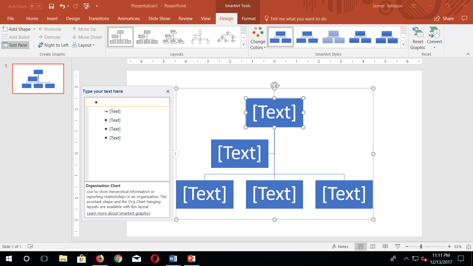 how to make organisation chart in ms word 2016