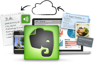 Synchronization of computers and mobile devices with Evernote